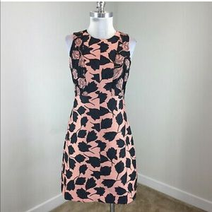 Ann Taylor Blush Pink/Dark Navy Brocade Dress - 12